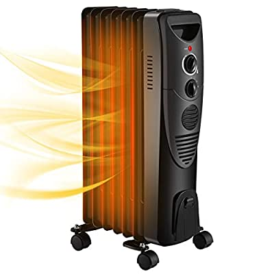 R.W.FLAME Oil Filled Radiator Heater,Electric Space Heater with 3 Heat Settings, Adjustable Thermostat, Quiet Portable Heater with Tip-over & Overheating Functions Black