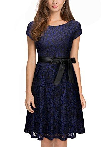 Miusol Damen Elegant?Bogen Guertel Hochzeit Brautjungfer Mini Spitzenkleider Abendkleider Navy Blau Gr.3XL - 4