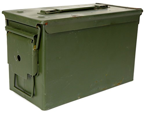 Military Outdoor Clothing Previously Issued U.S. G.I. M2A1 Metal 50-Caliber Ammo Box ( Used )