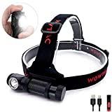 WOWTAC A2S LED Headlamp Headlight 6 Modes Max 1050 Lumen Waterproof Headlamps, Super Bright Outdoor Sports Running Walking Camping Reading Hiking Fishing (A2S NW)