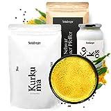 Bio Goldene Milch Pulver Set ohne Zucker | Über 100 Portionen Großpackung (1075g) | Mit Kurkuma, Kokosöl, Pfeffer