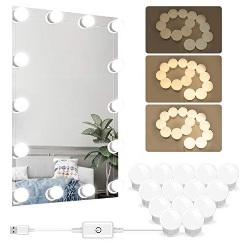 Spiegel Lichter 14 LED Dimmbar Spiegelleuchte Beleuchtung für Schminktisch Hollywood Style Schminklicht Spiegellampe für Kosmetikspiegel USB Make Up Licht für Badezimmer Deko