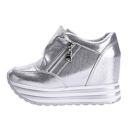 Lazzboy Freizeit Frauen Sport Round-Toe rutschfeste Dicke untere Reißverschluss Freizeitschuhe Sneakers(Silber,37)