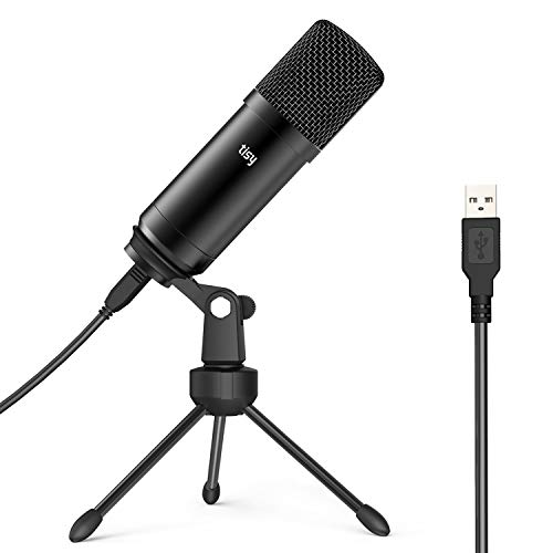 Tisy USB Microphone, Computer PC Recording Mic for Laptop MAC Windows Plug & Play Cardioid Condenser Microphone with Tripod Stand for YouTube Videos, Streaming Broadcast, Vocals, Voice Overs