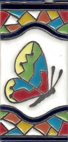 TORO DEL ORO Números casa. Numeros y Letras en azulejo. Ceramica esmaltada, Pintados a Mano técnica Cuerda Seca. Nombres y direcciones. Diseño Mosaico Mediana 5,5x10,5 cm (Mariposa)