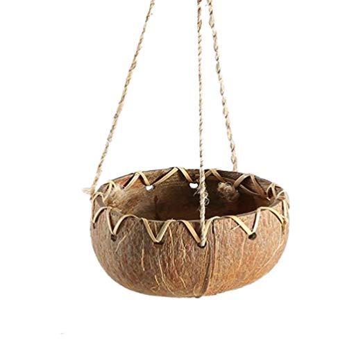 TOYANDONA Maceta de Cáscara de Coco para Colgar en La Pared Cesta de Flores Suculentas Macetas de Bonsái para La Decoración Interior Y Exterior del Jardín