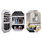 GPAIHOMRY Gabinete de joyería montado en la pared, organizador de joyas con cerradura con espejo de maquillaje, perfecto para almacenamiento de joyas de maquillaje