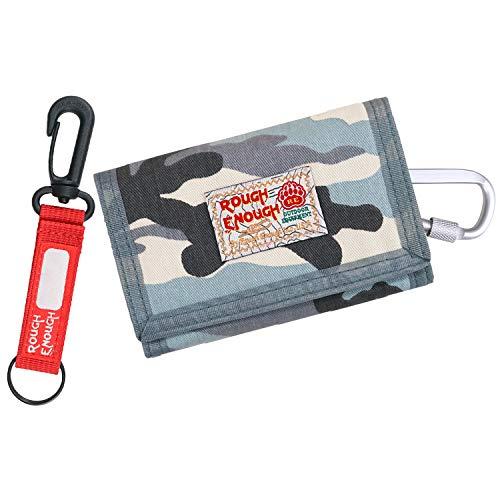 Rough Enough Millitärische Camo Canvas kleine Tasche Minimalist Portemmonaie Gürteltasche Brieftasche Kreditkartenetui Geldbörse Geldtasche Münztasche für Männer Frauen Jungen Mädchen