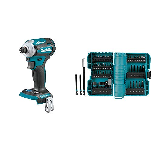 Makita XDT16Z 18V LXT Lithium-Ion Brushless Cordless Quick-Shift Mode 4-Speed Impact Driver, Tool Only & A-98348 50 Pc Impactx Driver Bit Set