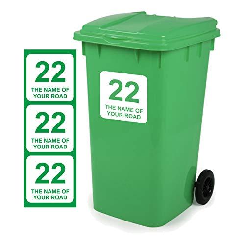 Mülltonnen-Aufkleber D1, personalisierbar mit Adresse, 18x18cm, 3 Stück