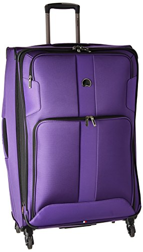 DELSEY Paris Sky Max 2.0 Softside Expandable Luggage with Spinner Wheels, Purple, Checked-Large 29 Inch