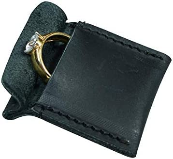 Hide Drink Leather Wedding Ring Case Slim Engagement Pouch Marriage Cute Gifts Handmade Charcoal product image