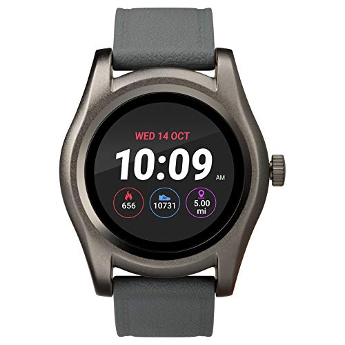 iConnect by Timex TW5M31600 Classic Round Gunmetal Smartwatch, Gray Silicone Strap