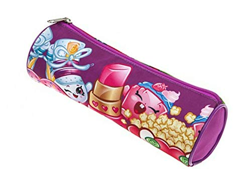 SRV Hub Licensed Kids Character Barrel Pencil Case Round Tube PVC | Multicoloured | Suitable for Kids Unisex, Teenage, for School, Makeup or Activities (Shopkins Pencil Case)
