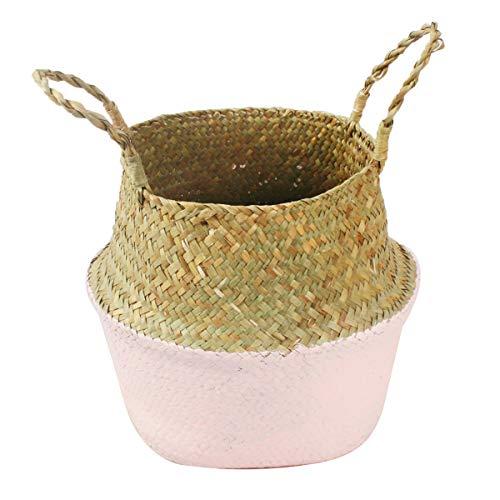 Mallalah Cesta de Almacenamiento Cesta de Mimbre de Flor Cesta de Lavandería Plegable Trenzada Suciedad en Mango de Pasto Marino 3 Tamaños para Elegir (rosa, L)