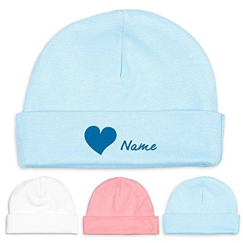 Baby-Mütze mit Herz und Namen aus Fair-Trade-Baumwolle - Babygeschenk (fairer Handel - Unisex) (Hellblau-Hellblau)
