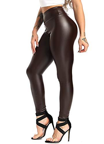 INSTINNCT Damen Kunstleder High Waist Leggings Skinny PU Leder Hose Leder-Optik Strumpfhosen Treggings Braun (Dünner Flaum) S