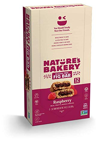 Nature's Bakery Gluten Free Fig Bars, Raspberry, Real Fruit, Vegan, Non-GMO, Snack bar, 1 box with 12 twin packs (12 twin packs)