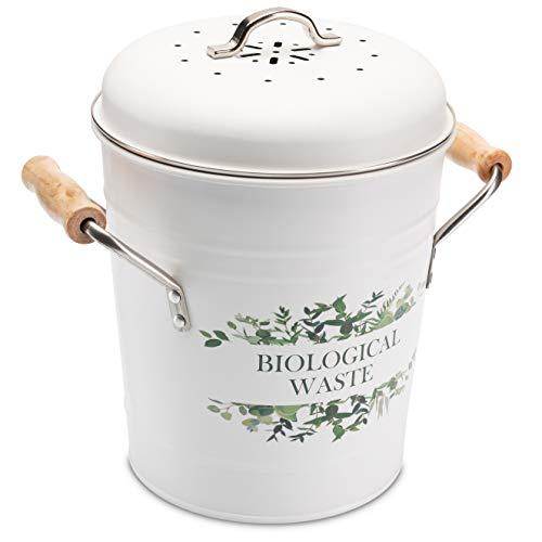 Tante Soe Design Komposteimer mit Deckel [3L] inkl. absorbierenden Aktivkohlefilter und robusten Inneneimer - für komfortable Biomüll Entsorgung