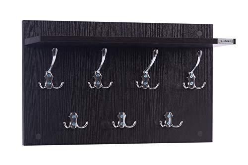 ts-ideen Garderobe Wandgarderobe Flur Diele Paneel Hakenleiste Holz schwarz mit 7 Haken und einer Ablage 55 x 33 cm