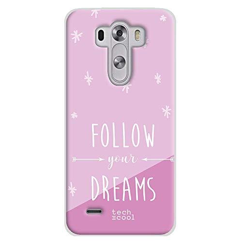 Funnytech Funda Silicona para LG G3 [Gel Silicona Flexible, Diseño Exclusivo] Frase Follow Your Dreams Fondo Rosa
