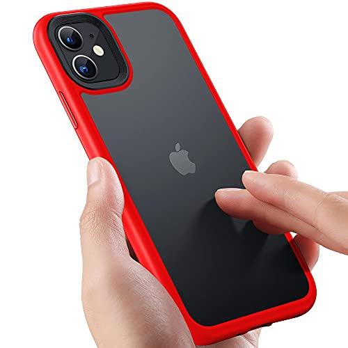 Yxpsmmysy Compatible con el Caso del teléfono móvil del iPhone 11 Aprieso a Prueba de Golpes Anti-caída, la Correa de PC Dura translúcida con el cojín de Silicona Suave(Rojo)