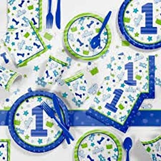 First(1st) Birthday Boy Party Supplies Decorations Kit- Includes Dinner Plates, Dessert Plates, Napkins and Tablecloth for 16 Guests