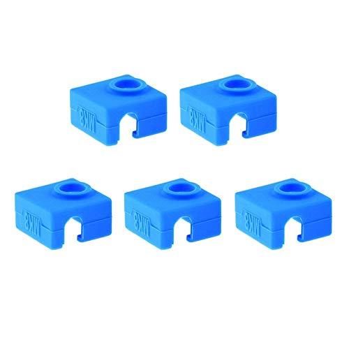SOOWAY 3D Drucker Heizung Block Silikon Abdeckung MK7 / MK8 / MK9 Hotend Kompatibel mit Creality CR-10,10 S, S4, S5, Ender 3, ANET A8 (5 x Blau Abdeckung)