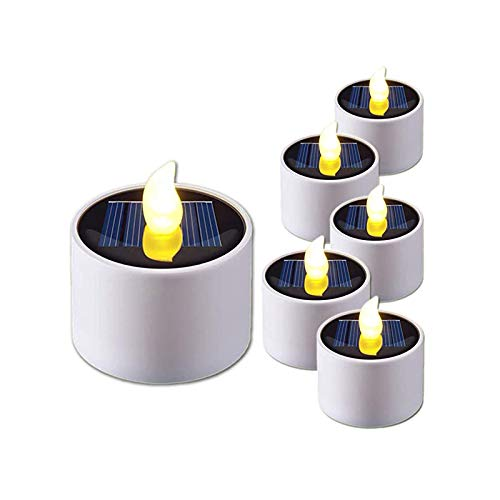 Gedengni 6 Pieces Warm White Flame Solar Power LED Light Candles - Electronic Solar LED Lamp Nightlight - Plastic Flameless Solar Energy Candle for Outdoor Camping Emergency