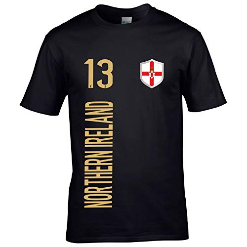 FanShirts4u Kinder Fanshirt Trikot Jersey NORDIRLAND Northern Ireland T-Shirt inkl. Druck Wunschname u. Wunschnummer EM WM (3/4 Jahre 98-104 cm, Northern Ireland/Schwarz)