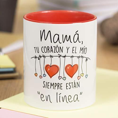 La Mente es Maravillosa - Taza con frase y dibujo divertido (Mamá, tu corazón y el mío siempre están en línea) Regalo original para MAMÁ
