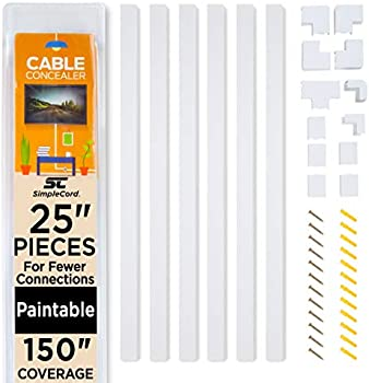 SimpleCord Cable Concealer On-Wall Cord Cover Raceway Kit