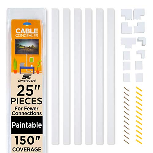 Simple Cord Cable Concealer On-Wall Cord Cover Raceway Kit - Cable Management System to Hide Cables, Cords, or Wires - Cord Organizer for Wall Mounted TVs and Computers at Home or in The Office