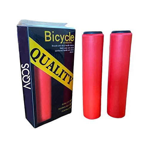 AQOS Puños Bicicleta, 2 Unidades, montaña, MTB, Silicona, Grips, Mangos, Manguitos, empuñaduras, Manillar, Bici, Mountain Bike, Ciclismo, Paseo, Espuma, ergonomicos, BMX, Universal, Rojo.