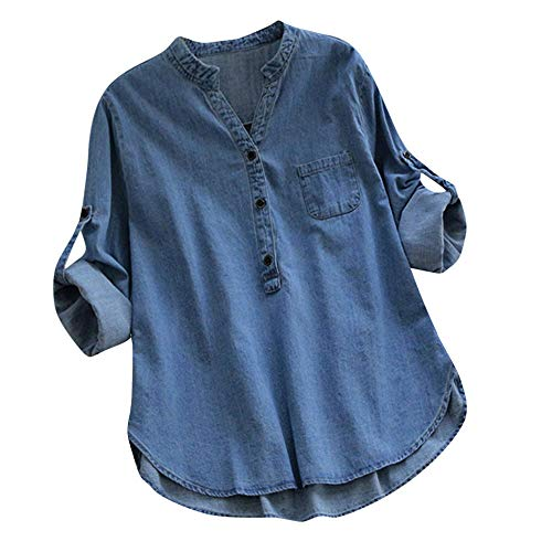 LOPILY Jeansbluse Damen Verstellbare Ärmel Langarm Tunika mit Knopfleiste Denim Shirt Kurzarm Damen Jeans Hemd Hellblau Dunkelblau Jeansshirt Lässiges Oberteil Jeans (Hellblau, 40)