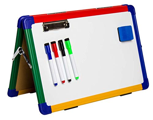 IbexStationers Magnetic Kids Dry Erase Board Whiteboard Easel for Children,Distance Learning Teaching Supplies, Home Learning Tools, with Four Color Markers and Eraser Size 12x16