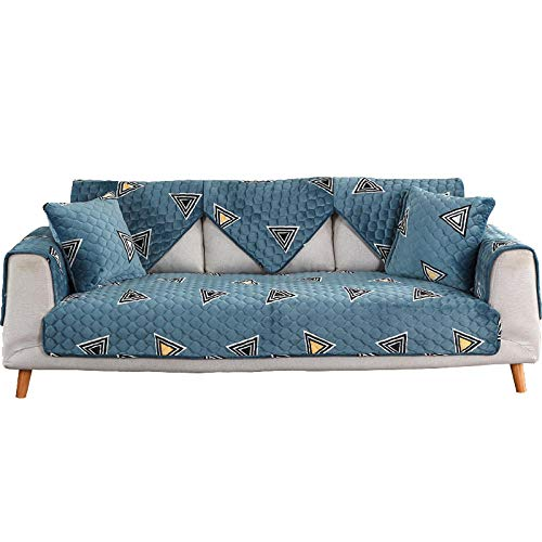 YUTJK Sofá Fundas Antideslizante,Toalla de sofá Cubierta,Protector de Muebles,Lanzar Juegos de Funda de cojín Estar,Cojines de sofá de Franela Estampados,para sofá de Tela,Azul Oscuro