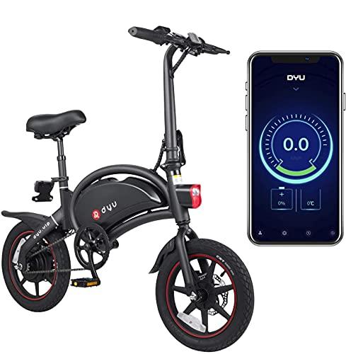 DYU D3 PLUS Bici Elettrica Pieghevole Smart Bike per Adulti, 240 W Lega di Alluminio Bicicletta Rimovibile 36 V/10 Ah agli Ioni di Litio con 3 Modalità di Equitazione