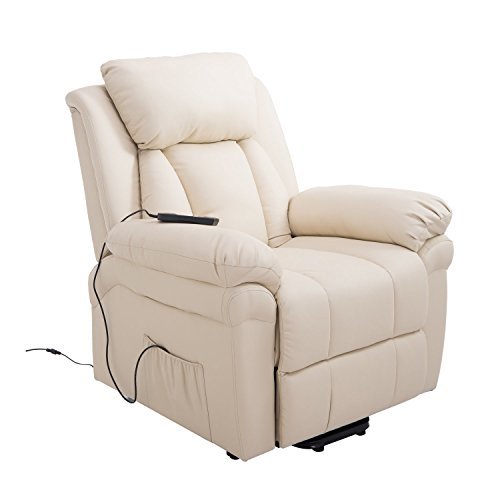 HOMCOM Elektrischer Fernsehsessel Aufstehsessel Relaxsessel Sessel mit Aufstehhilfe, Beige, 96 x 93 x 105 cm