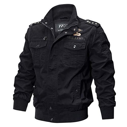 Military Pilot Jackets Men Winter Autumn Bomber Cotton Coat Tactical Army Casual Air Force Jacket Black 3XL
