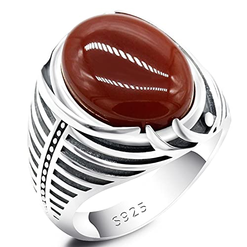 ZiFei 925 Sterling Silver Men Ring with Natural Red Agate Stone Vintage Simple Stripe Birthday Wedding Turkish Jewelry Gift,12
