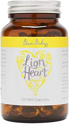 Bare Biology Lion Heart Omega 3 Fish Oil Mini Capsules - Optimum Support for Heart, Brain & Eyes - Perfect For 12 Years Up - Super Strength / Made from Sustainably Caught Fish (120 Capsules)