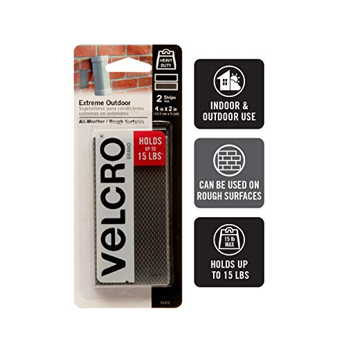VELCRO Brand Industrial Strength Fasteners | Extreme Outdoor Weather Conditions | Professional Grade Heavy Duty Strength Holds up to 15 lbs on Rough Surfaces | 4 x 2 inch strips, 2 Sets, Titanium Photo #3