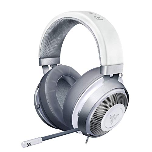 Razer Kraken Gaming Headset: Lightweight Aluminum Frame, Retractable Noise Isolating Microphone, For PC, PS4, PS5, Switch, Xbox One, Xbox Series X & S, Mobile, 3.5 mm Audio Jack, Mercury White