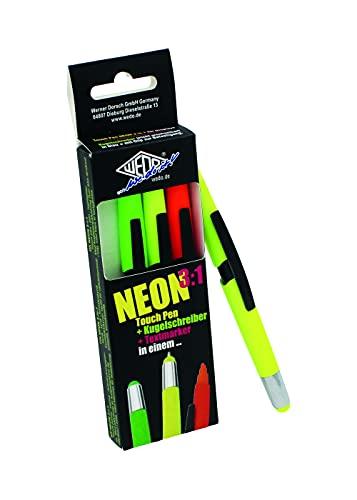 WEDO 261610499 - Penna a sfera 3 in 1 e evidenziatore, confezione da 4 pezzi, giallo fluo, verde fluo, rosa fluo, arancione fluo