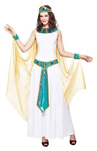 Das Kostmland Disfraz de Cleopatra de la reina de Nilo, para mujer, color blanco y turquesa, 3 piezas, disfraz de Egipto, carnaval, fiesta temtica o teatro, Blanco Turquesa Dorado, S