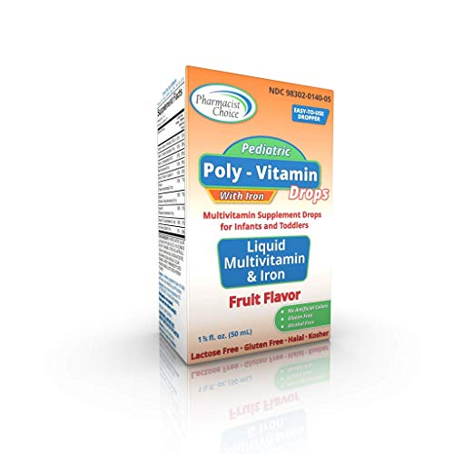 Pharmacist Choice Poly-Vitamin Drops w/ Iron Supplement for Infants and Toddlers - Liquid Fruit Flavor, No Artificial Colors, Gluten Free, Lactose Free & Alcohol Free - SDI-VDPI