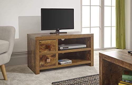 Home Source - Particle Board Study Walnut Effect 2 Drawer 1 Shelf TV Stand Entertainment Unit