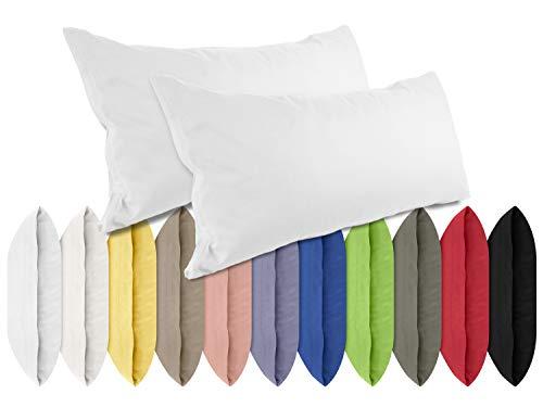 npluseins Renforcé-Kissenbezüge im Doppelpack - 100% Baumwolle – schlicht und edel im Design, in 11 Uni-Farben, 40 x 80 cm, weiß