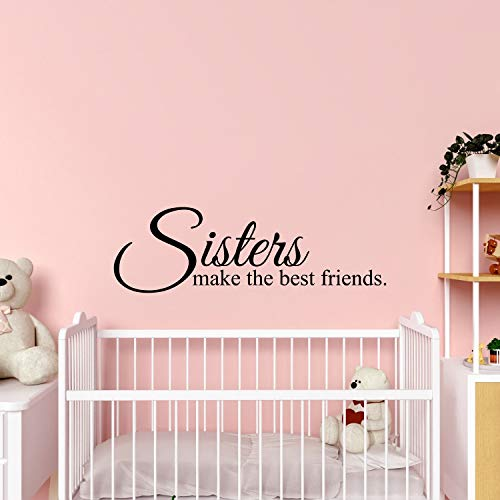 My Vinyl Story - Sisters Make The Best Friends - Wall Decals for Bedroom Family Nursery Decal Quote Word Sayings Sticker Sign Family Decor Removable Vinyl for Room Home 32x10 Inches